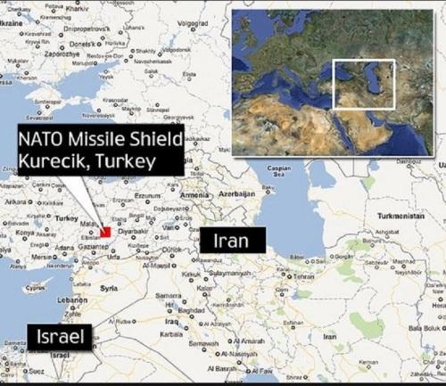 Map of Turkey, Iran, Israel