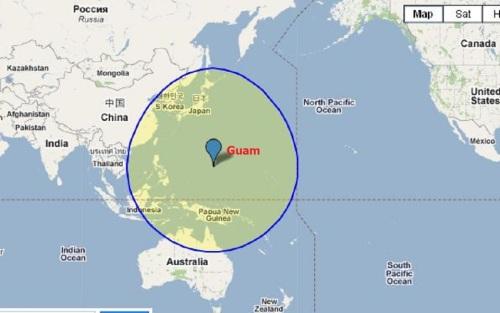 2400 mi radius of Guam