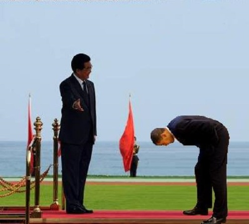 Obama bows to China