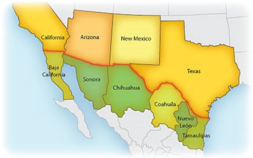 US Mexico border map