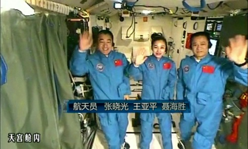 Chinese astronauts in space station