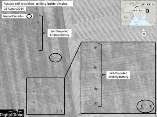 NATO satellite image of Russian artillery in Ukraine