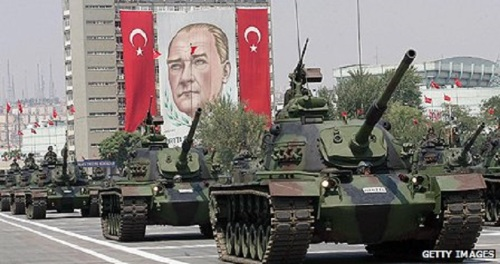 Turkish tanks at an army parade