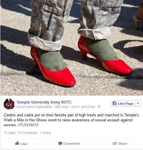 Temple U Army ROTC red high heels3