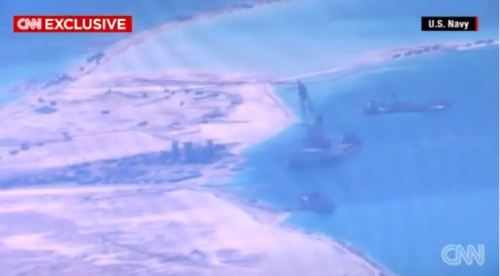 Chinese building military installations on Fiery Cross Reef