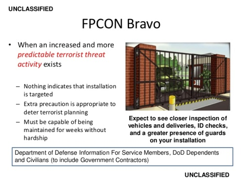 FPCON terrorist threat level Bravo