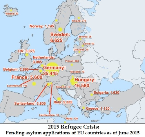 2015 refugee crisis - asylum applications of European countries
