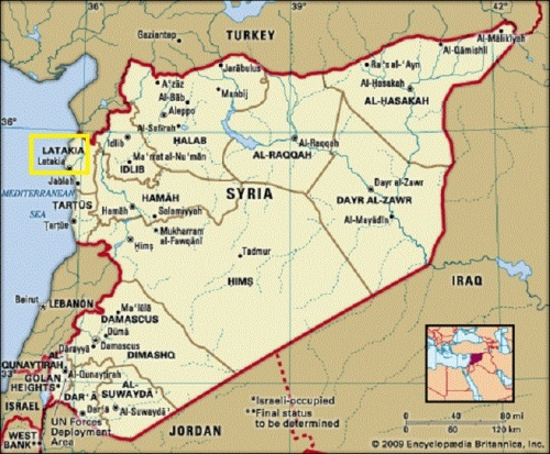 map of Syria with Latakia