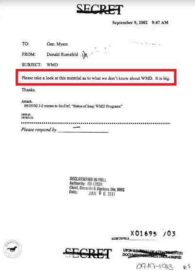 Iraq report Rumsfeld memo to Myers