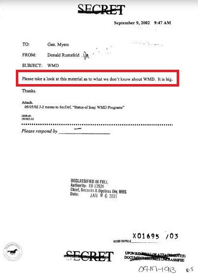 Iraq report Rumsfeld memo to Myers